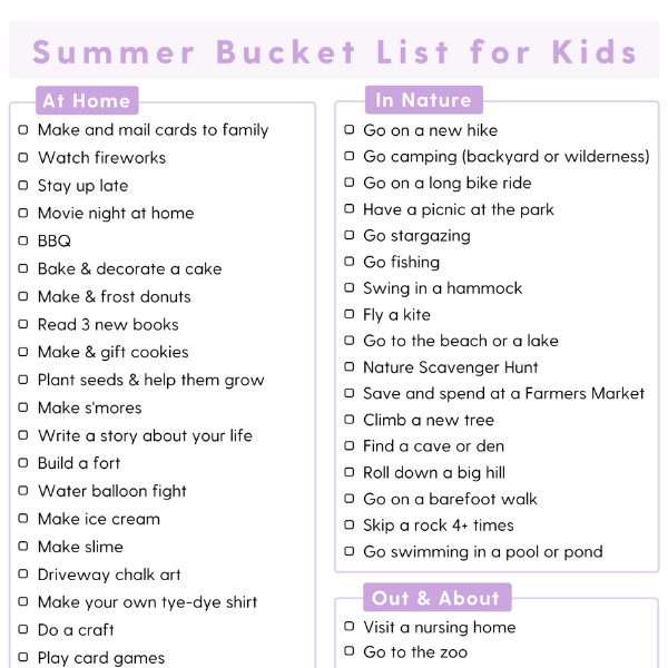 Summer Bucket List For Kids (Free Printable)